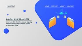 Cyfrowej kartoteki przeniesienie kartoteka, obłoczny serwer, transfer danych od kartoteki, isometric projekt, ląduje strona sza ilustracja wektor