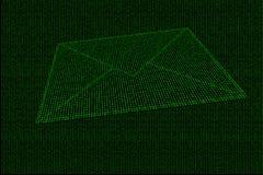 Cyfrowej koperta robić zielony binarny kod Zdjęcie Stock