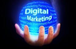 Cyfrowej kuli ziemskiej tła Marketingowy błękit Fotografia Stock