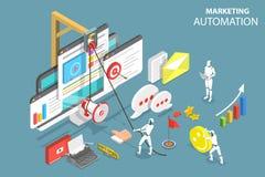 Cyfrowej marketingowej automatyzaci isometric płaski wektorowy pojęcie Ilustracji