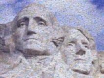 Cyfrowej mozaika mali wizerunki zawierający Waszyngton i Jefferson na Mt Rsuhmore obrazy stock