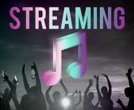Cyfrowej Multimedialnej rozrywki Muzyczny Leje się Online pojęcie zdjęcia royalty free