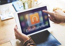 Cyfrowej Multimedialnej rozrywki Muzyczny Leje się Online pojęcie zdjęcie royalty free