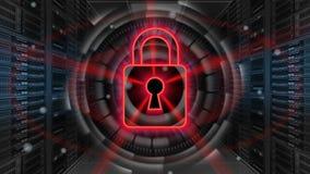 Cyfrowej ochrony hologram z kłódką na serweru pokoju 3D rendering - Cyber ochrona lub sieci ochrona - Zdjęcie Royalty Free