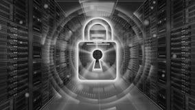 Cyfrowej ochrony hologram z kłódką na serweru pokoju 3D rendering - Cyber ochrona lub sieci ochrona - Fotografia Royalty Free