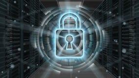 Cyfrowej ochrony hologram z kłódką na serweru pokoju 3D rendering - Cyber ochrona lub sieci ochrona - Obrazy Stock