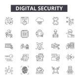 Cyfrowej ochrony linii ikony dla sieci i mobilnego projekta Editable uderzenie znaki Cyfrowej ochrony konturu pojęcie ilustracja wektor