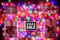 Cyfrowej pastylka, Xmas sprzedaży zakupy online pojęcie zdjęcie stock