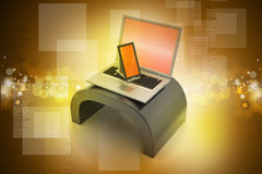 Cyfrowej pastylki laptop i komputer Fotografia Stock