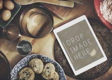 Cyfrowej pastylki piekarni ciastek kopii przestrzeni Kuchenny pojęcie Fotografia Stock
