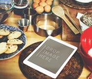 Cyfrowej pastylki piekarni ciastek kopii przestrzeni Kuchenny pojęcie Zdjęcia Stock