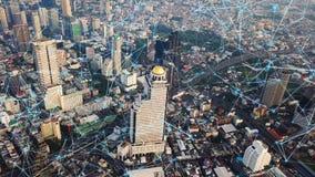 Cyfrowej sieci związku linie Bangkok śródmieście, Tajlandia Pieniężny okręg i centrum biznesu w miastowym, mądrze mieście wewnątr obrazy stock