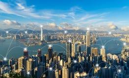 Cyfrowej sieci związku linie Hong Kong śródmieście Pieniężny okręg i centrum biznesu w mądrze mieście w technologii zdjęcie stock