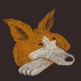 Cyfrowej szkicowa ilustracja czerwony pies ma odpoczynek ilustracji