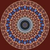 Cyfrowej sztuki projekt, orientalny wzór, czerwień, błękitny i złoty, Fotografia Royalty Free