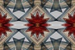 Cyfrowej sztuki projekta bezszwowy wzór z czerwienią i siwieje gwiazdy Zdjęcia Royalty Free