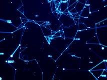 Cyfrowej techniki sieć łączy z kreskowym abstrakcjonistycznym tłem, błękitny temat Obrazy Royalty Free