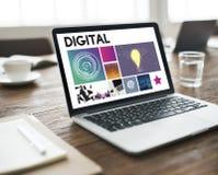Cyfrowej technologii cyberprzestrzeni sieci Medialny pojęcie Fotografia Stock