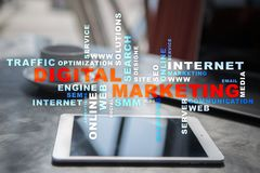 cyfrowej technologii marketingowy pojęcie Internet Online Wyszukiwarki Optimisation SEO SMM target31_1_ Słowo chmura fotografia royalty free
