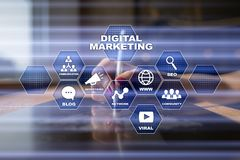 cyfrowej technologii marketingowy pojęcie Internet Online Wyszukiwarki Optimisation SEO SMM wideo reklama obrazy royalty free