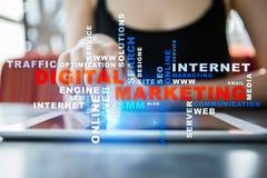 cyfrowej technologii marketingowy pojęcie Online SEO SMM target31_1_ Słowo chmura Obraz Stock