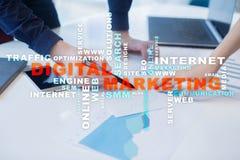 cyfrowej technologii marketingowy pojęcie Online SEO SMM target31_1_ Słowo chmura Obrazy Royalty Free
