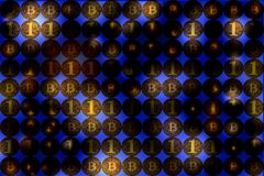 Cyfrowej waluta i pieniężny biznesowy pojęcie, bitcoin ściana, b obrazy stock