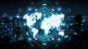 Cyfrowej światowej mapy ekranu interfejsu 3D rendering Fotografia Royalty Free