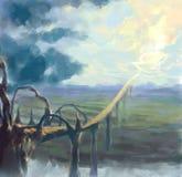 Cyfrowo malująca droga niebo ilustracji