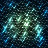 Cyfrowo wytwarzający wizerunek błękita światło rusza się szybko nad czarnym tłem lampasy i Fotografia Stock