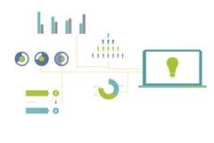 Cyfrowo wytwarzam zielony i błękitny biznesowy infographic Fotografia Royalty Free