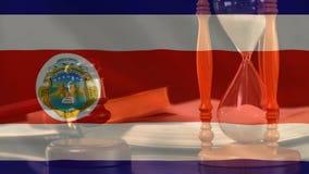 Cyfrowo złożony grunge Costa Rica flaga i godziny szkło zbiory wideo