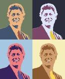 Cyfrowo zmieniający Warhol stylu widok Bill Clinton w cztery kwadratowej konfiguraci Zdjęcia Royalty Free