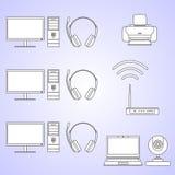Cyfrowy komputerowego wyposażenia set Set różnych sylwetek narzędzi i przyrządów cyfrowe liniowe wektorowe ikony Obraz Royalty Free