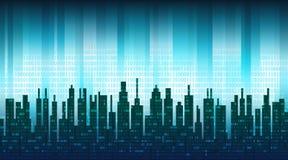 Cyfrowy miasto Binarni dane w chmurze nad abstrakcjonistyczną linią horyzontu, błękitny zaawansowany technicznie tło ilustracji