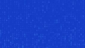 Cyfrowy szyk Przypadkowe liczby (0), 9 i Wideo w matrycowym stylu Binarnego kodu wzór z cyframi na ekranie, spada charakter ilustracja wektor