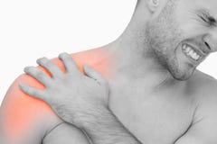 Cyfrowy złożony Podkreślam ramienia ból mężczyzna Zdjęcie Royalty Free
