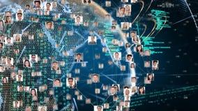 Cyfrowy złożony profile wiruje w formie kuli ziemskiej ilustracji
