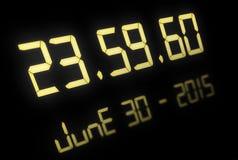 Cyfrowy zegar z 60 sekundami przy północą Zdjęcia Stock