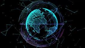 Cyfrowych dane kula ziemska Abstrakcjonistyczny 3D rendering naukowa technologia dane sieci planety ziemia 4K Digital świat royalty ilustracja
