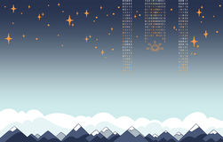 IT Cyfrowych dane przepływy nad góry niebem i krajobrazem ilustracja wektor