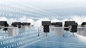 Cyfrowych desktops scrolling na nieba tle z dane scrolling ilustracji