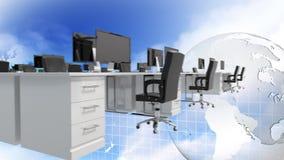 Cyfrowych desktops scrolling na nieba tle z ziemi wirować royalty ilustracja