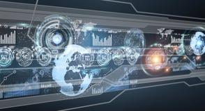 Cyfrowych hologramy z ekran statystyk 3D i map renderin Obrazy Stock