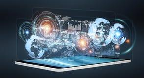 Cyfrowych hologramy z ekranami sporządzają mapę nad telefonu komórkowego 3D rende Zdjęcia Royalty Free