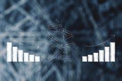 Cyfrowych marketingowi pojęcia w komicznych bąble z wykresami od n Obrazy Stock
