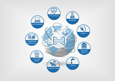 Cyfrowych modele biznesu dla globalnej gospodarki Wektorowe ikony dla różnych przemysłów lubią nauki przyrodnicze Fotografia Stock