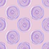 Cyfrowych okregów ślimakowaty lily purpurowy bezszwowy wzór na lilym tle royalty ilustracja