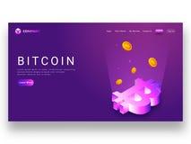 Cyfrowych promienie przychodzi od 3D bitcoin symbolu na purpurowym tle, Zdjęcia Stock