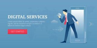 Cyfrowych usługa sieci sztandar ilustracja wektor